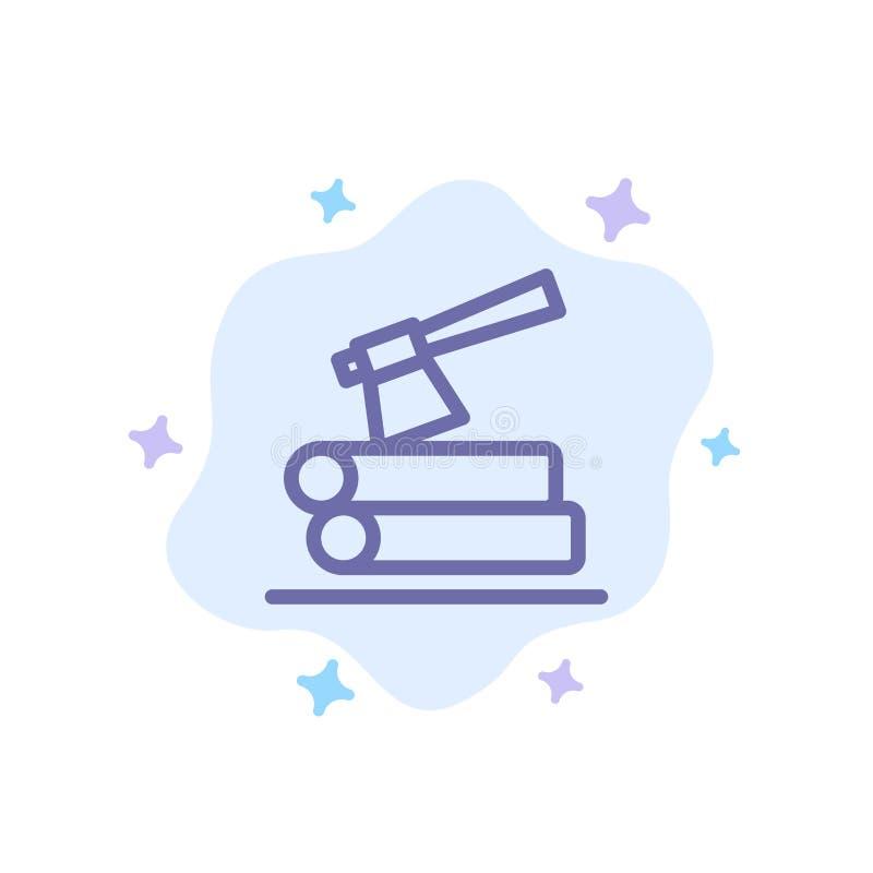 Τσεκούρι, κούτσουρο, ξυλεία, ξύλινο μπλε εικονίδιο στο αφηρημένο υπόβαθρο σύννεφων ελεύθερη απεικόνιση δικαιώματος