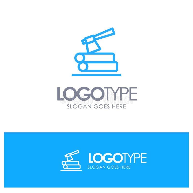 Τσεκούρι, κούτσουρο, ξυλεία, ξύλινο μπλε λογότυπο περιλήψεων με τη θέση για το tagline απεικόνιση αποθεμάτων