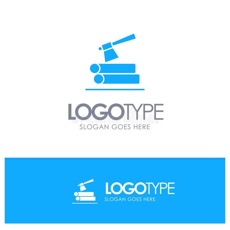 Τσεκούρι, κούτσουρο, ξυλεία, ξύλινο μπλε στερεό λογότυπο με τη θέση για το tagline διανυσματική απεικόνιση