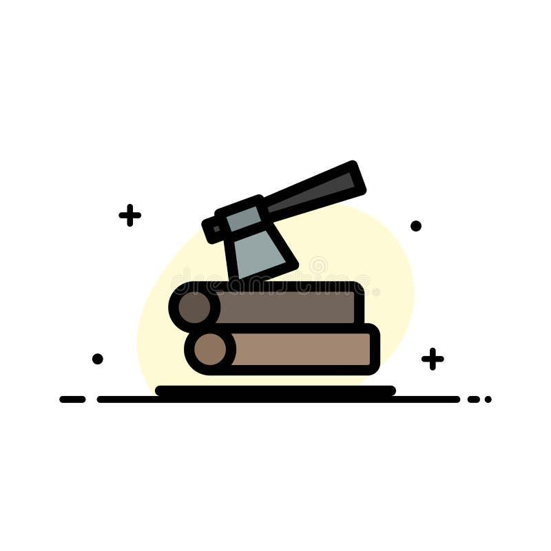 Τσεκούρι, κούτσουρο, ξυλεία, ξύλινο πρότυπο εμβλημάτων επιχειρησιακών επίπεδο γεμισμένο γραμμή εικονιδίων διανυσματικό ελεύθερη απεικόνιση δικαιώματος