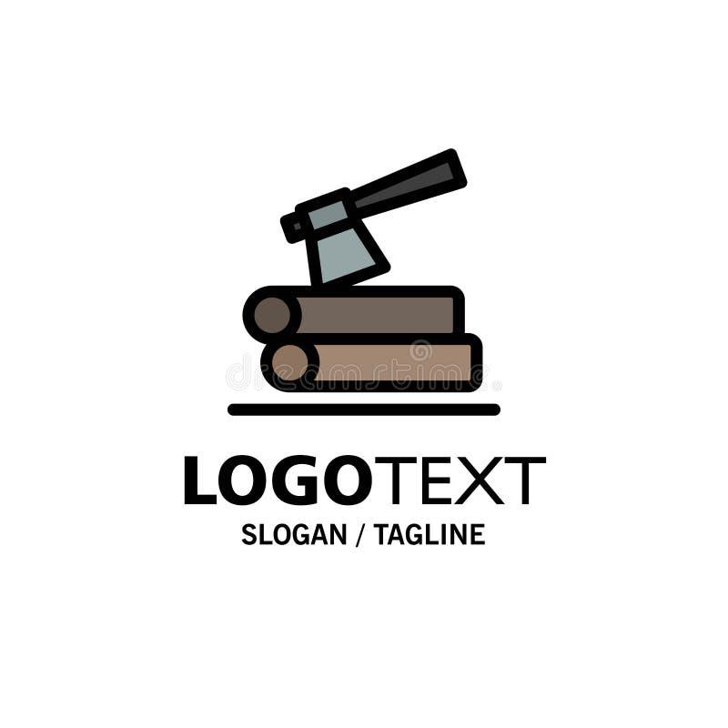 Τσεκούρι, κούτσουρο, ξυλεία, ξύλινο πρότυπο επιχειρησιακών λογότυπων Επίπεδο χρώμα διανυσματική απεικόνιση