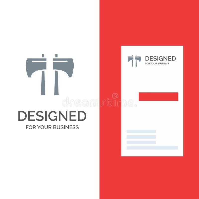 Τσεκούρι, μπριζόλα, υλοτόμος, γκρίζο σχέδιο λογότυπων εργαλείων και πρότυπο επαγγελματικών καρτών απεικόνιση αποθεμάτων