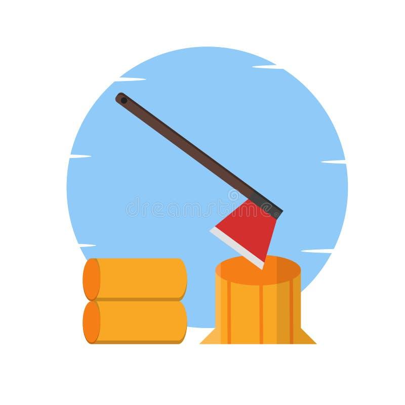 Τσεκούρι, ξύλινη, τέμνουσα ξύλινη απεικόνιση - διάνυσμα ελεύθερη απεικόνιση δικαιώματος