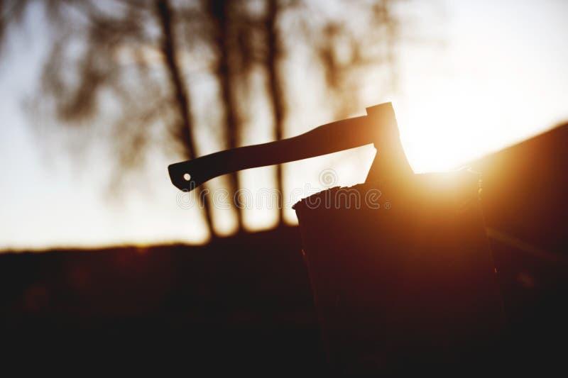 Τσεκούρι που φράσσεται σε έναν ξύλινο φραγμό σε Backlight στοκ εικόνα