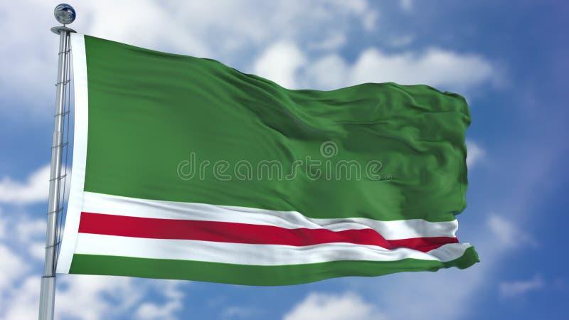 Τσετσένια Δημοκρατία της σημαίας Ichkeria σε έναν μπλε ουρανό απεικόνιση αποθεμάτων