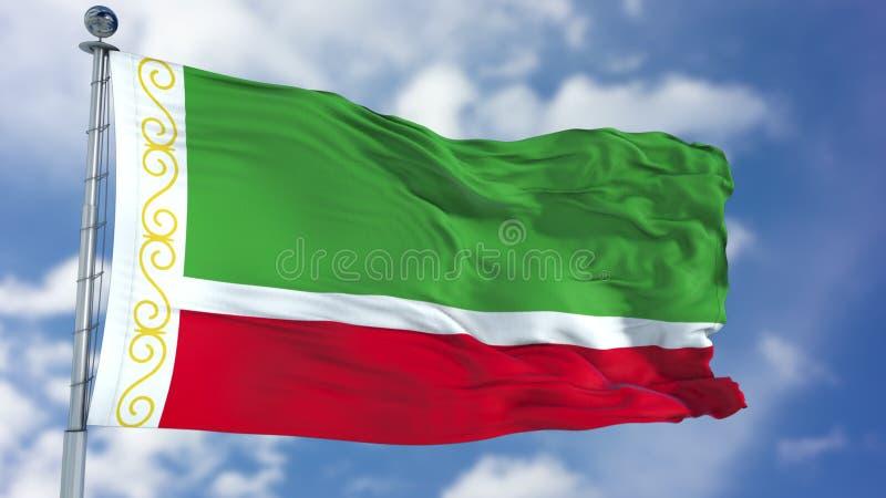 Τσετσένια σημαία Δημοκρατίας σε έναν μπλε ουρανό απεικόνιση αποθεμάτων