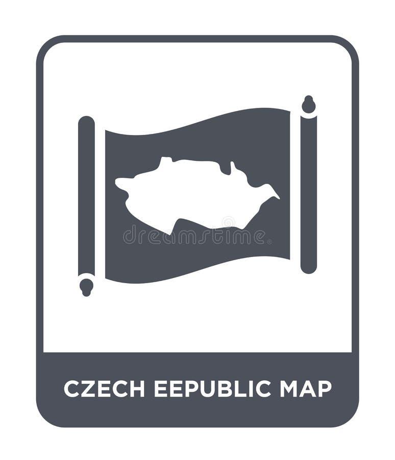 τσεχικό eepublic εικονίδιο χαρτών στο καθιερώνον τη μόδα ύφος σχεδίου τσεχικό eepublic εικονίδιο χαρτών που απομονώνεται στο άσπρ ελεύθερη απεικόνιση δικαιώματος