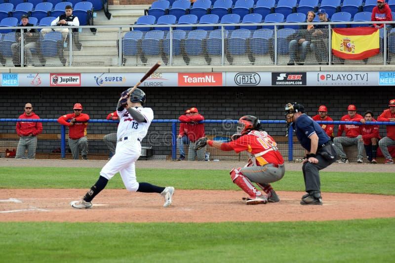 Τσεχικό hitter κατά τη διάρκεια ενός baseballgame των έξοχων 6 στοκ φωτογραφίες