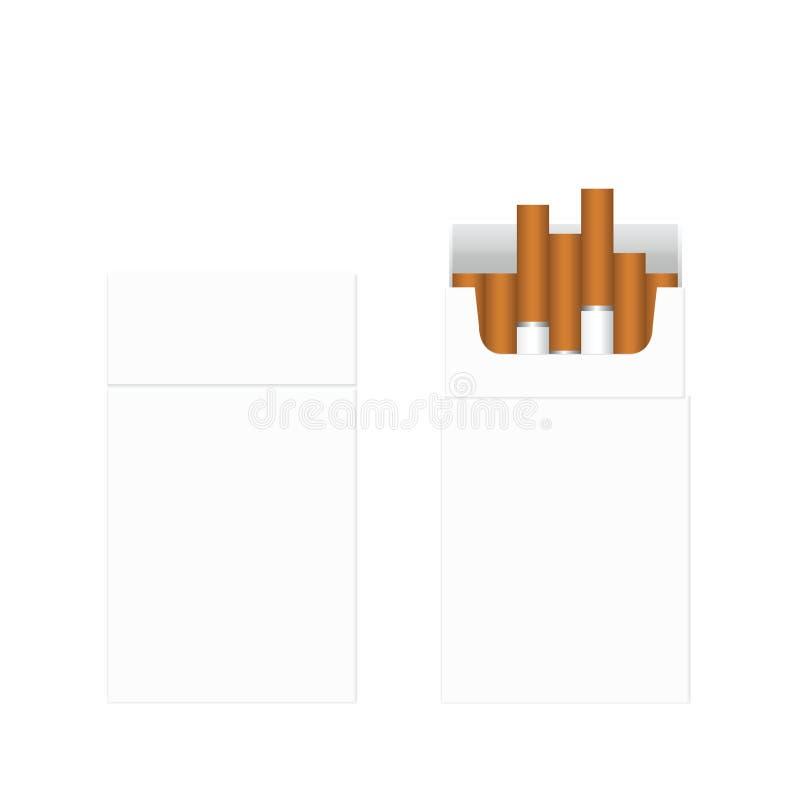 τσιγάρο Διανυσματικό κενό κιβώτιο συσκευασίας πακέτων των τσιγάρων απεικόνιση αποθεμάτων