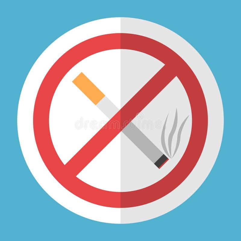 Τσιγάρο, σημάδι απαγόρευσης του καπνίσματος διανυσματική απεικόνιση