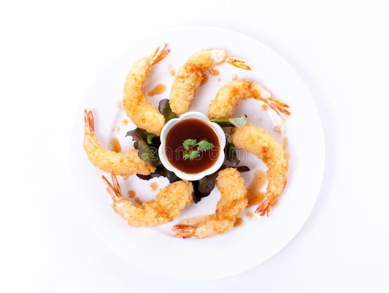 Τσιγαρισμένες γαρίδες με τη σάλτσα στοκ εικόνες με δικαίωμα ελεύθερης χρήσης