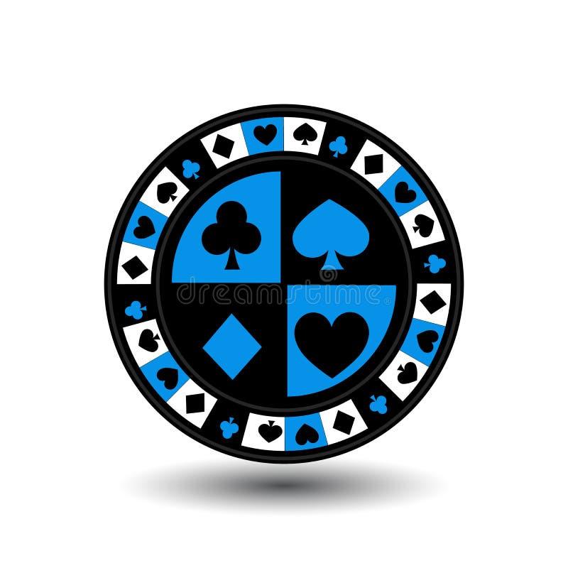 Τσιπ για το μπλε πόκερ ένα κοστούμι ένα εικονίδιο στο απομονωμένο λευκό υπόβαθρο Απεικόνιση EPS 10 Για να χρησιμοποιήσει τους ιστ διανυσματική απεικόνιση