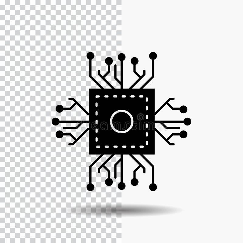 Τσιπ, ΚΜΕ, μικροτσίπ, επεξεργαστής, εικονίδιο Glyph τεχνολογίας στο διαφανές υπόβαθρο r διανυσματική απεικόνιση