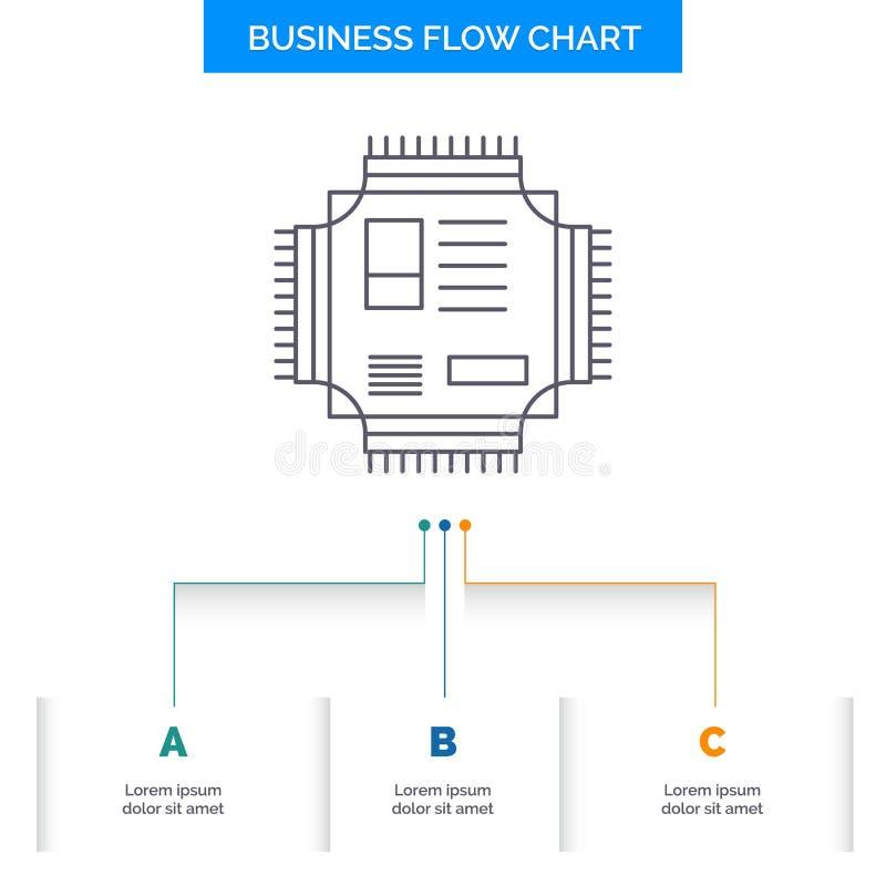 Τσιπ, ΚΜΕ, μικροτσίπ, επεξεργαστής, σχέδιο διαγραμμάτων επιχειρησιακής ροής τεχνολογίας με 3 βήματα Εικονίδιο γραμμών για το υπόβ απεικόνιση αποθεμάτων