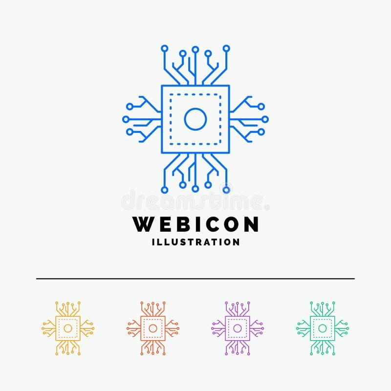 Τσιπ, ΚΜΕ, μικροτσίπ, επεξεργαστής, τεχνολογία 5 πρότυπο εικονιδίων Ιστού γραμμών χρώματος που απομονώνεται στο λευκό r διανυσματική απεικόνιση