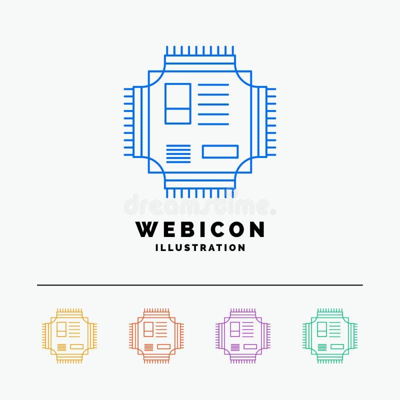 Τσιπ, ΚΜΕ, μικροτσίπ, επεξεργαστής, τεχνολογία 5 πρότυπο εικονιδίων Ιστού γραμμών χρώματος που απομονώνεται στο λευκό r απεικόνιση αποθεμάτων