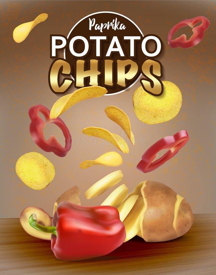 Τσιπ με την πάπρικα Πατάτες περικοπών Σχέδιο συσκευασίας για τα τσιπ ελεύθερη απεικόνιση δικαιώματος