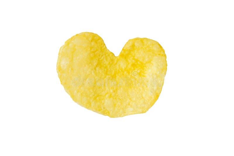 Τσιπ πατατών μορφής καρδιών που απομονώνονται στο λευκό στοκ φωτογραφία με δικαίωμα ελεύθερης χρήσης