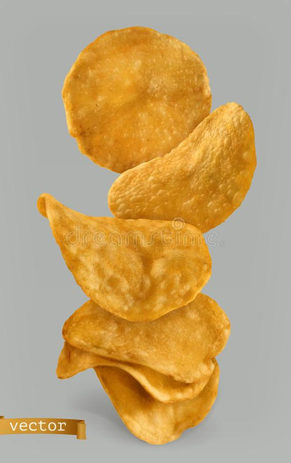 Τσιπ πατατών, σχέδιο συσκευασίας τρισδιάστατο διάνυσμα απεικόνιση αποθεμάτων