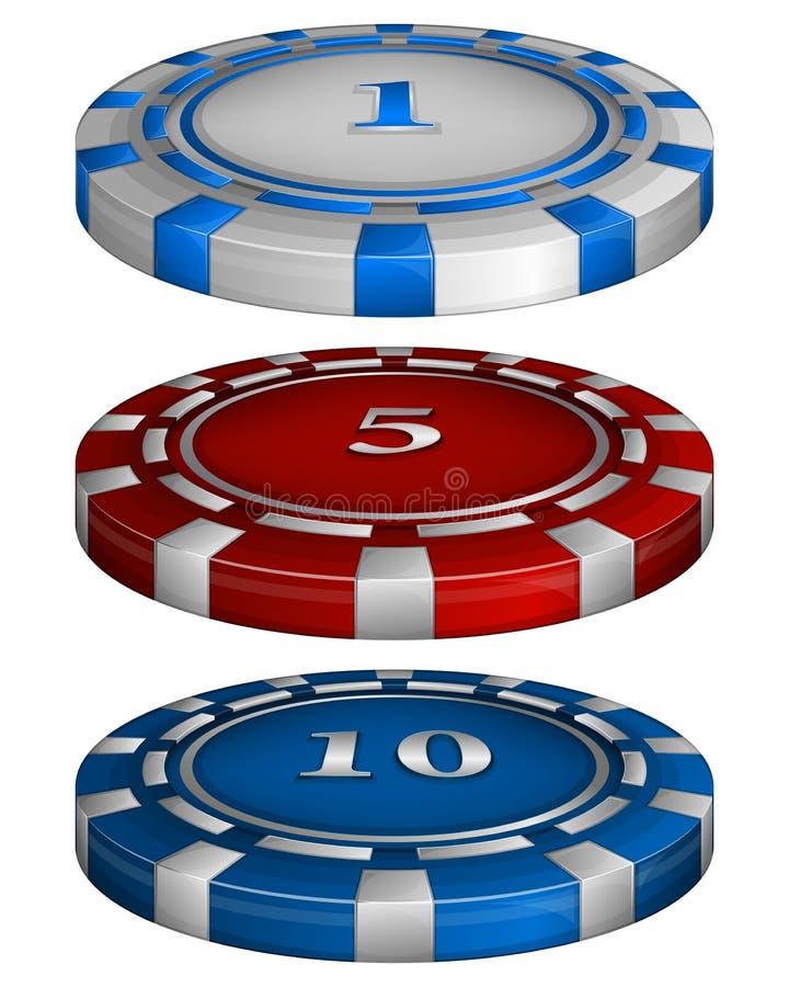 Τσιπ πόκερ χαρτοπαικτικών λεσχών με το κόστος απεικόνιση αποθεμάτων