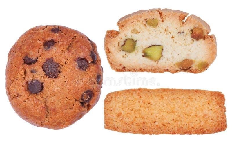 Τσιπ σοκολάτας, καρύδα, μπισκότα biscotti που απομονώνονται στο λευκό στοκ φωτογραφία με δικαίωμα ελεύθερης χρήσης