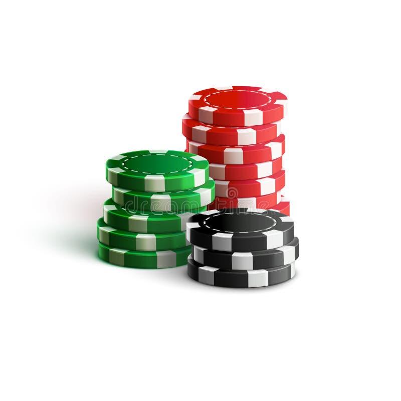 Τσιπ χαρτοπαικτικών λεσχών στο άσπρο ρεαλιστικό θέμα διανυσματική απεικόνιση
