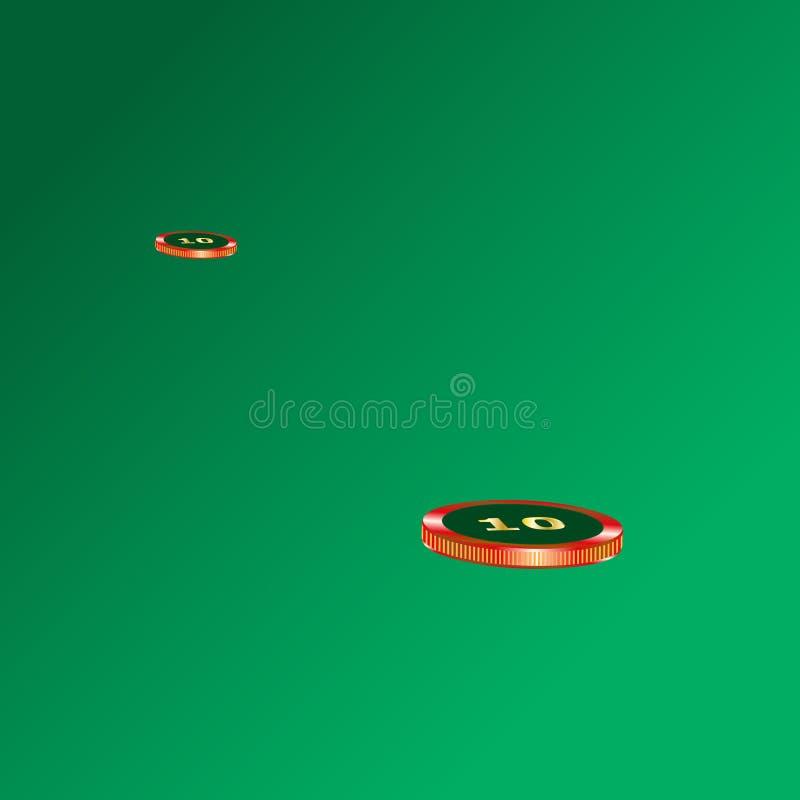 Τσιπ χαρτοπαικτικών λεσχών που βρίσκονται στον πράσινο πίνακα υφασμάτων Έννοια παιχνιδιού ελεύθερη απεικόνιση δικαιώματος