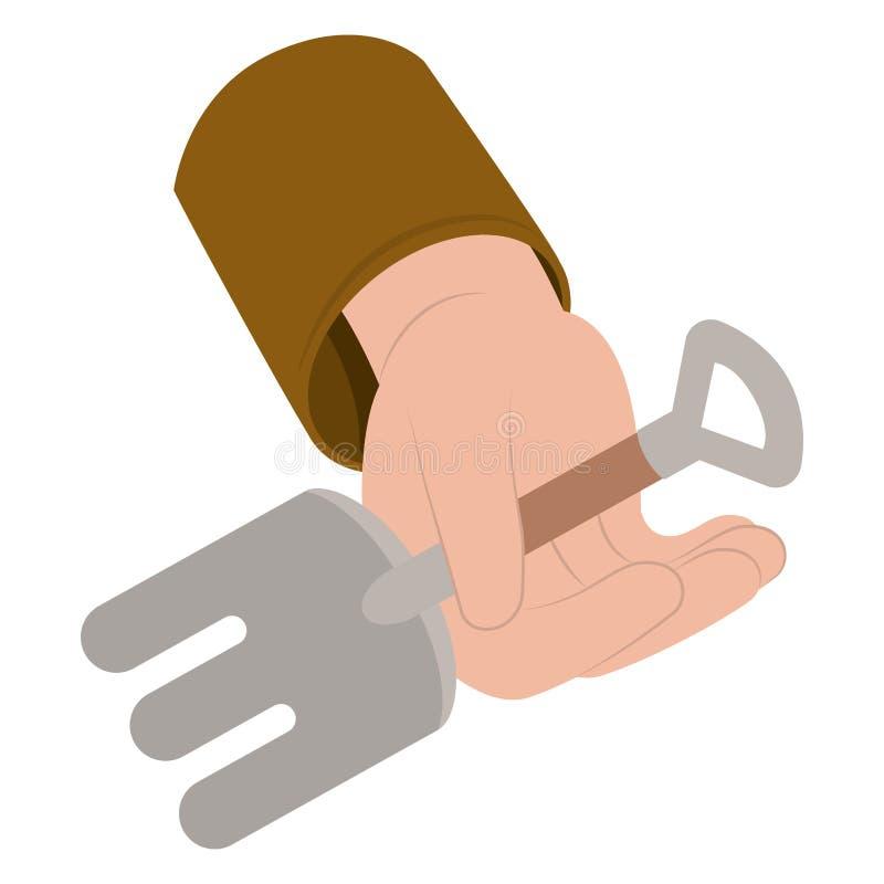 Τσουγκράνα στο απομονωμένο χέρι εικονίδιο διανυσματική απεικόνιση