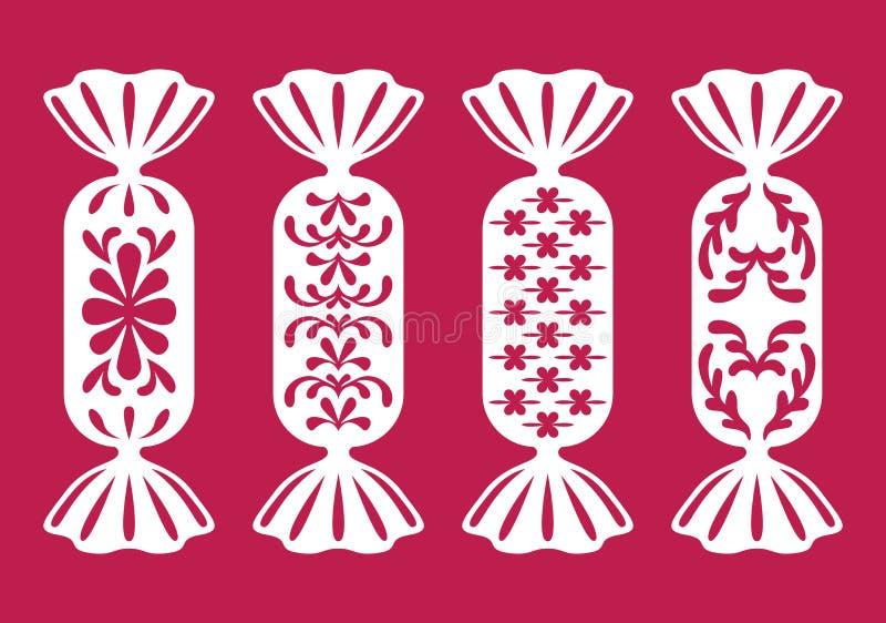 Τυλιγμένα γλυκά Πρότυπα για κοπή λέιζερ, κοπή σχεδιαστή, ξυλουργική, εκτύπωση ή κράτηση για αποφλοίωση διανυσματική απεικόνιση