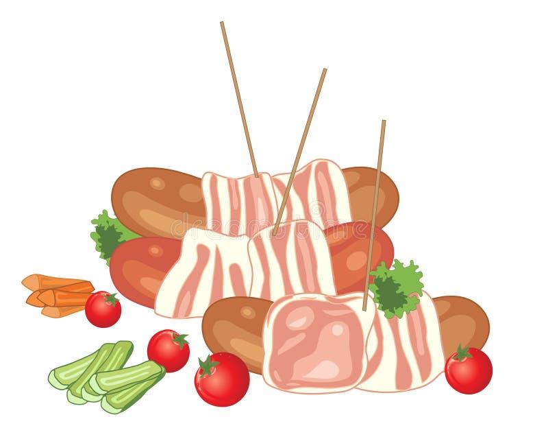 Τυλιγμένα τα μπέϊκον λουκάνικα με τις ντομάτες κερασιών και διακοσμούν διανυσματική απεικόνιση