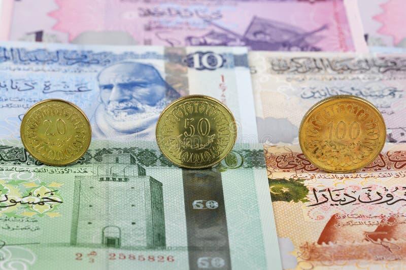Τυνησιακά νομίσματα Δηναρίων στοκ εικόνες