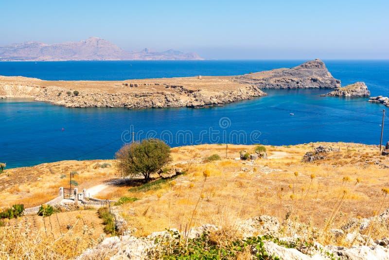 Τυπική θέα στο νησί της Ρόδου στο Λίντος της Ελλάδας στοκ φωτογραφίες με δικαίωμα ελεύθερης χρήσης