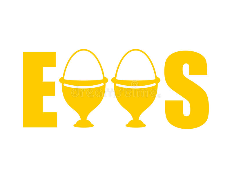 Τυπογραφία αυγών εγγραφή φλυτζανιών αυγών Κατανάλωση των τροφίμων ελεύθερη απεικόνιση δικαιώματος