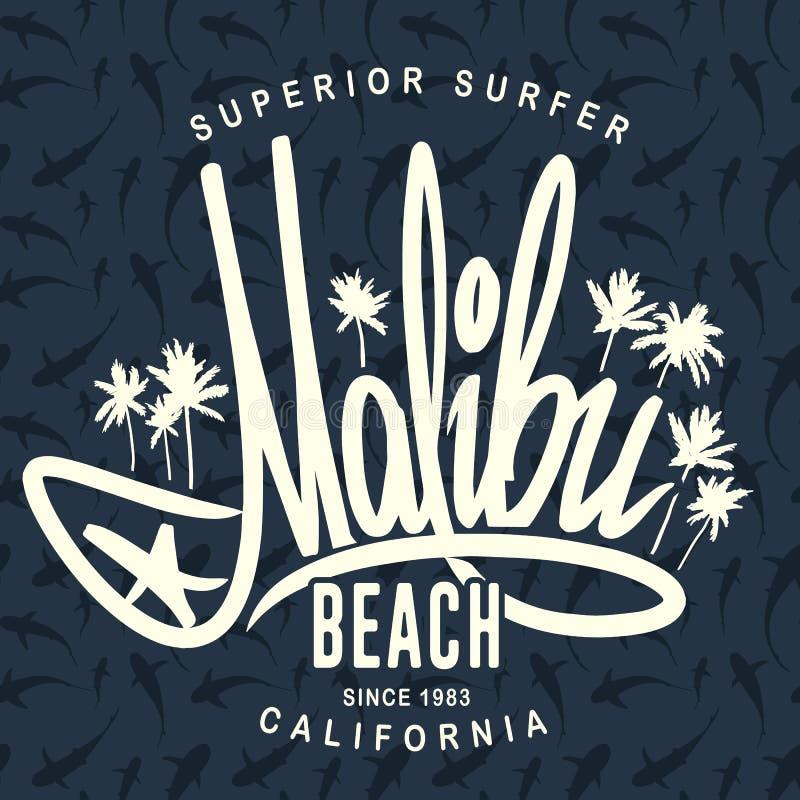 Τυπογραφία κυματωγών Malibu, διανυσματικό σχέδιο τυπωμένων υλών μπλουζών απεικόνιση αποθεμάτων