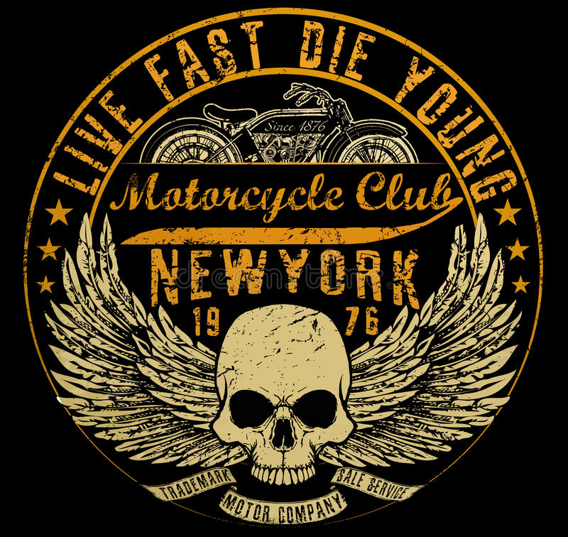 Τυπογραφία μοτοσικλετών, γραφική παράσταση μπλουζών, διανύσματα απεικόνιση αποθεμάτων