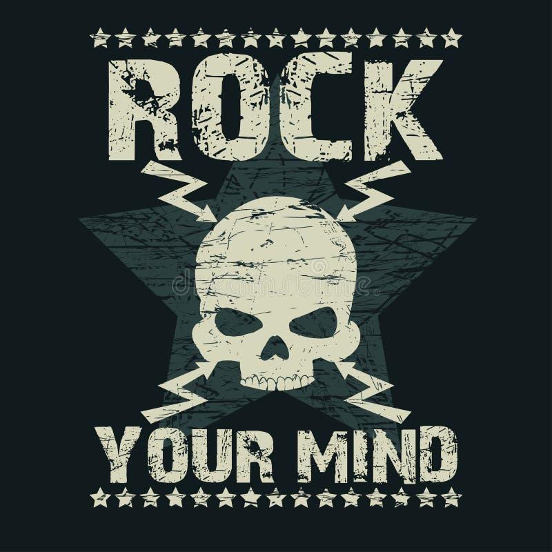 Τυπογραφία μπλουζών βράχου ελεύθερη απεικόνιση δικαιώματος