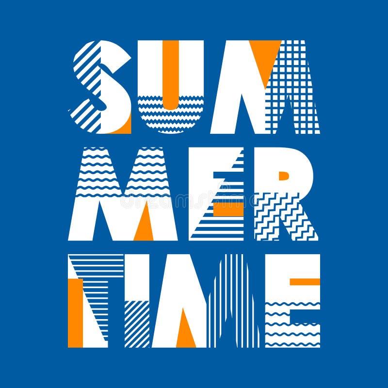 Τυπογραφία μπλουζών θερινού χρόνου, διανυσματική απεικόνιση ελεύθερη απεικόνιση δικαιώματος