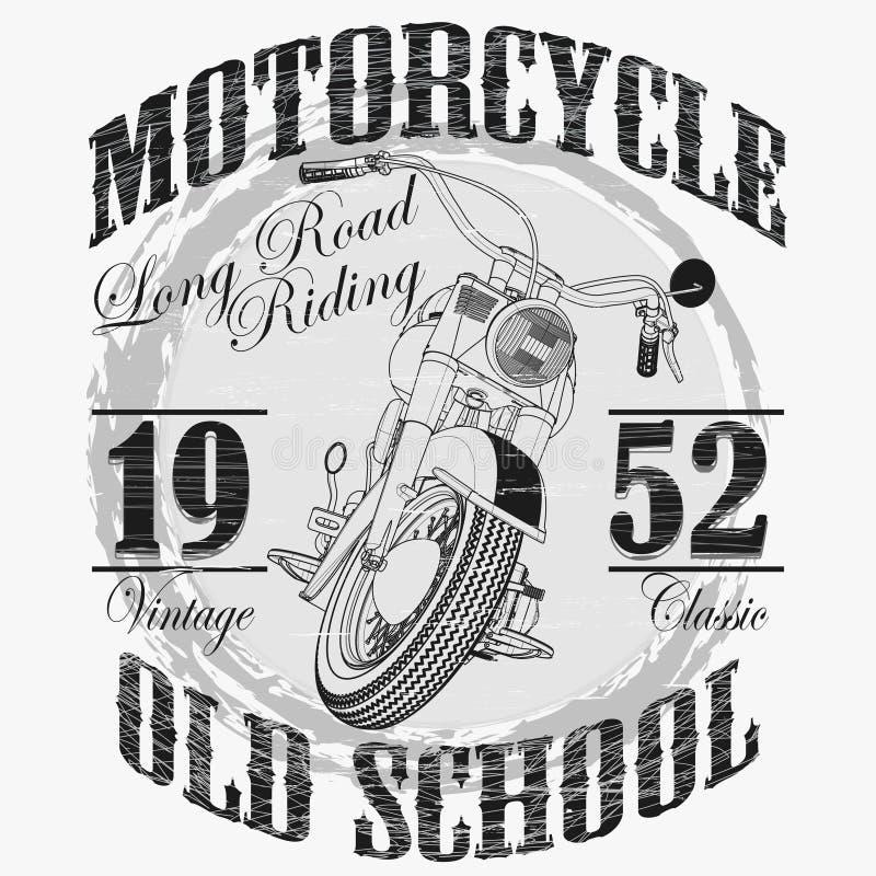 Τυπογραφία μόδας ποδηλατών, αθλητικό έμβλημα μοτοσικλετών απεικόνιση αποθεμάτων
