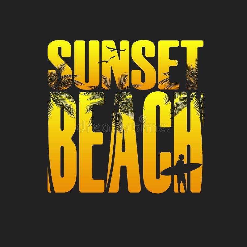 Τυπογραφία παραλιών θερινού ηλιοβασιλέματος, πουκάμισο γραμμάτων Τ γραφικό, σύνθημα, τυπωμένο σχέδιο Εκτύπωση μπλουζών ελεύθερη απεικόνιση δικαιώματος