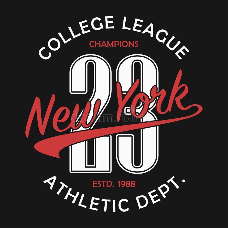 Τυπογραφία της Νέας Υόρκης για την μπλούζα αριθμού Αρχική sportswear τυπωμένη ύλη Αθλητική τυπογραφία ενδυμασίας Γραφικός για τα  απεικόνιση αποθεμάτων