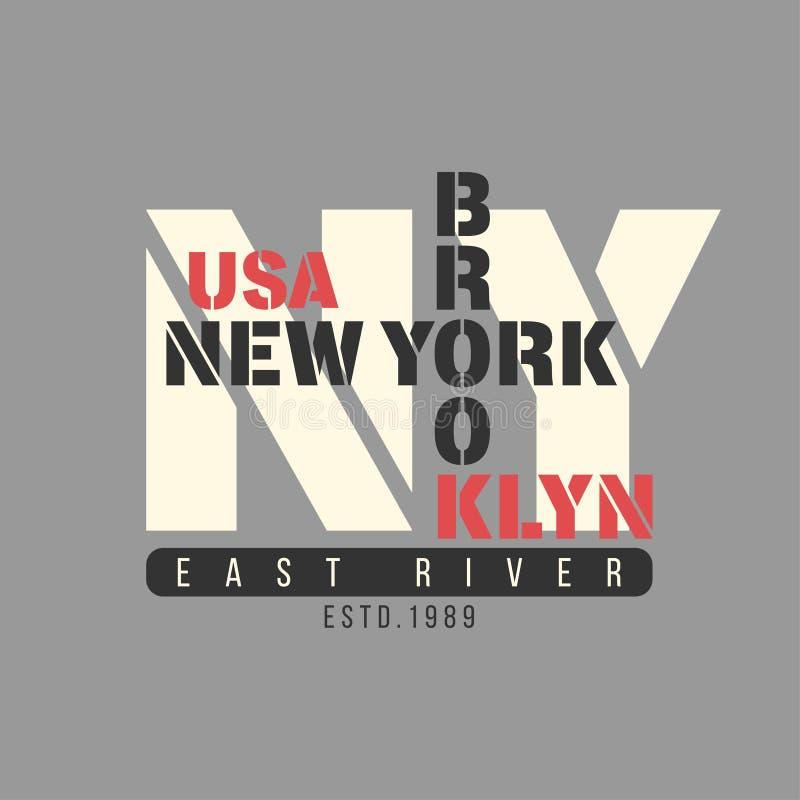 Τυπογραφία της Νέας Υόρκης, Μπρούκλιν, ΗΠΑ Γραφική παράσταση μπλουζών διανυσματική απεικόνιση