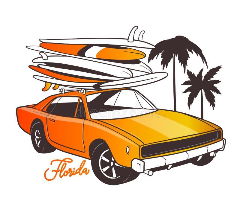Τυπογραφία του Μαϊάμι για την τυπωμένη ύλη μπλουζών και το αναδρομικό αυτοκίνητο με την ιστιοσανίδα διανυσματική απεικόνιση