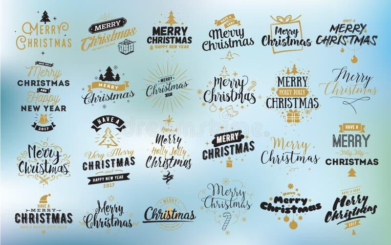 Τυπογραφικά εμβλήματα Χαρούμενα Χριστούγεννας καθορισμένα διανυσματική απεικόνιση