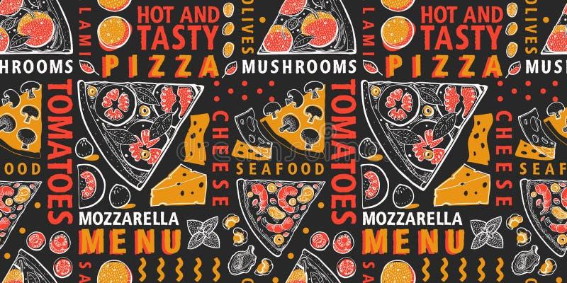 Τυπογραφική διανυσματική ιταλική πίτσα και άνευ ραφής σχέδιο συστατικών Ιταλικό πρότυπο σχεδίου τροφίμων Συρμένη χέρι διανυσματικ ελεύθερη απεικόνιση δικαιώματος