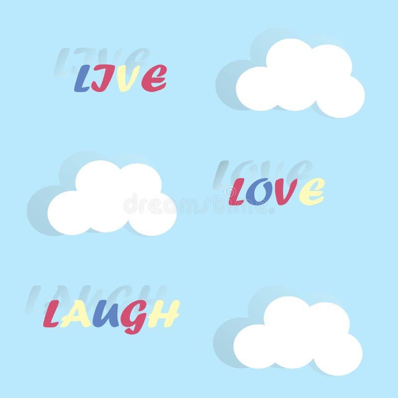 Τυπογραφικό έμβλημα ζωντανό, γέλιο, αγάπη σε έναν μπλε, διάνυσμα Κόκκινο, κίτρινο, μπλε λευκό επιστολών, σύννεφο, σκιές ελεύθερη απεικόνιση δικαιώματος