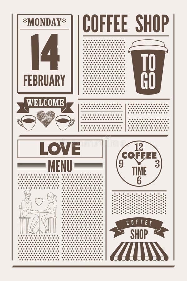 Τυπογραφικό εκλεκτής ποιότητας αφίσα ύφους εφημερίδων καφετεριών ή πρότυπο των επιλογών για την ημέρα βαλεντίνων ` s αναδρομικό δ απεικόνιση αποθεμάτων