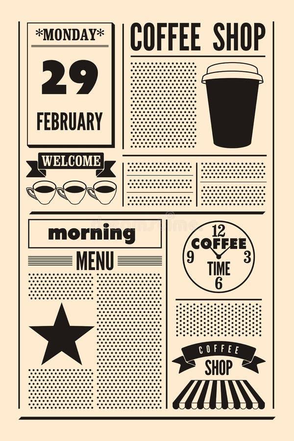 Τυπογραφικό εκλεκτής ποιότητας αφίσα ύφους εφημερίδων καφετεριών ή πρότυπο των επιλογών αναδρομικό διάνυσμα απεικόνισης απεικόνιση αποθεμάτων