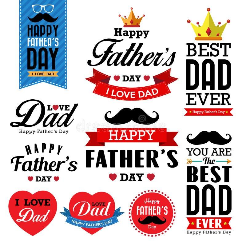 Τυπογραφικό υπόβαθρο ημέρας του ευτυχούς πατέρα διανυσματική απεικόνιση