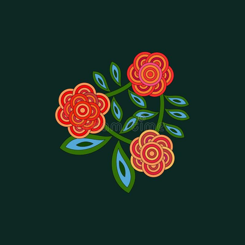 Τυποποιημένα αναδρομικά λουλούδια peonies ή τριαντάφυλλα στις κόκκινες πράσινες σκιές διανυσματική απεικόνιση