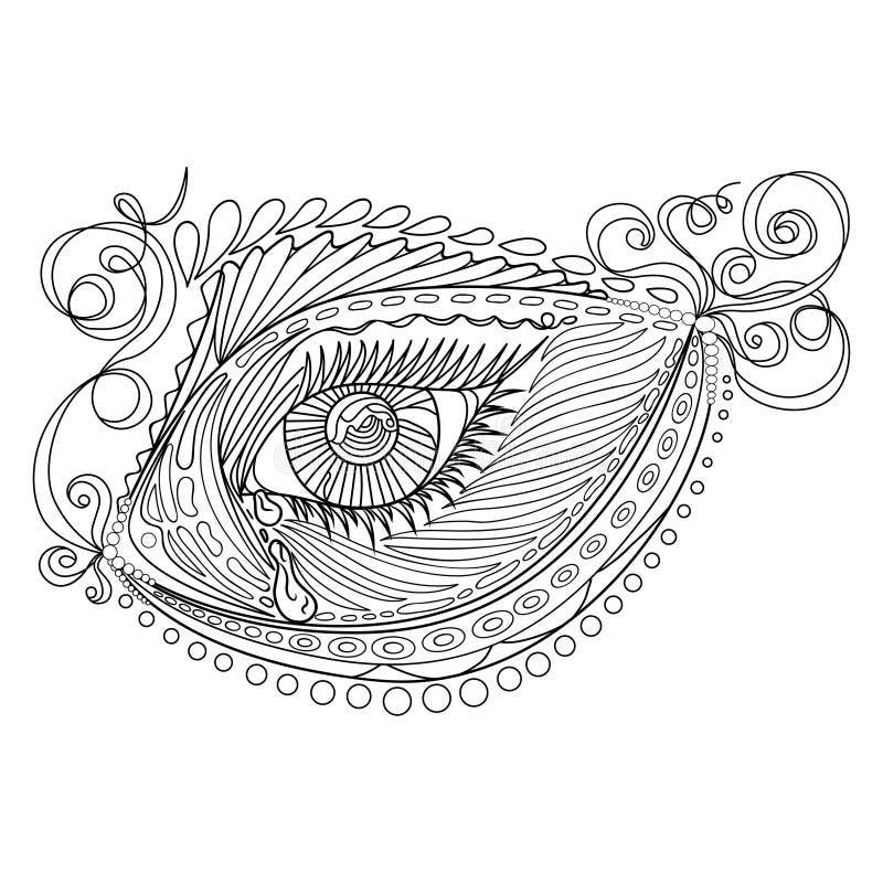 Τυποποιημένα αφηρημένα ψάρια και μάτι σύγχυσης της Zen, που απομονώνονται στο άσπρο υπόβαθρο Συρμένο χέρι σκίτσο για την ενήλικη  απεικόνιση αποθεμάτων